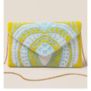 Handbags - Yellow Beaded Envelope Crossbody Clutch